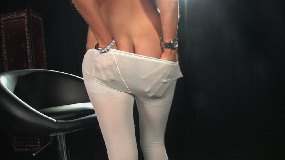 Saucy Lola goes topless wearing sexy white pantyhose