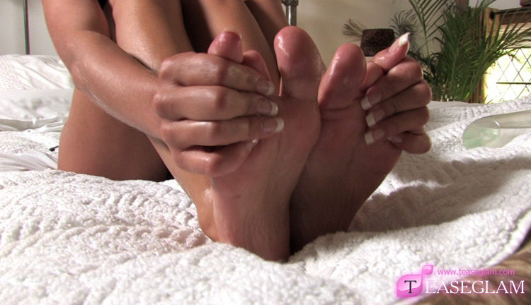 Rachel gives her feet a treat