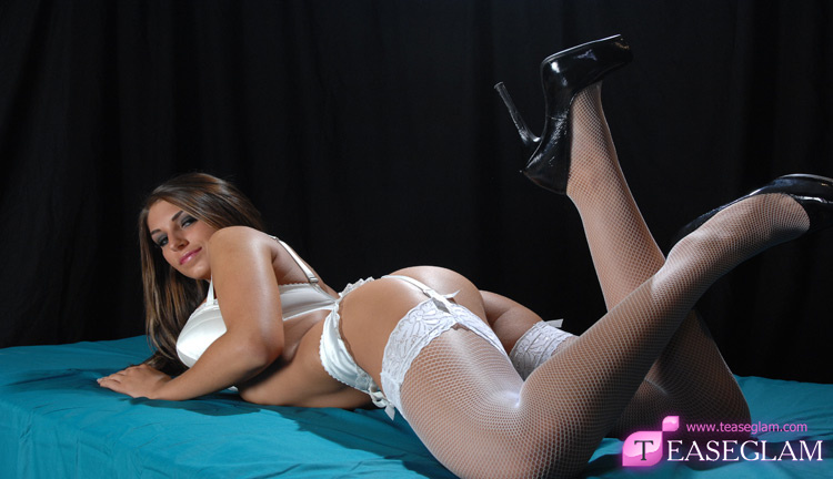 Jenny Laird wears white fishnet stockings