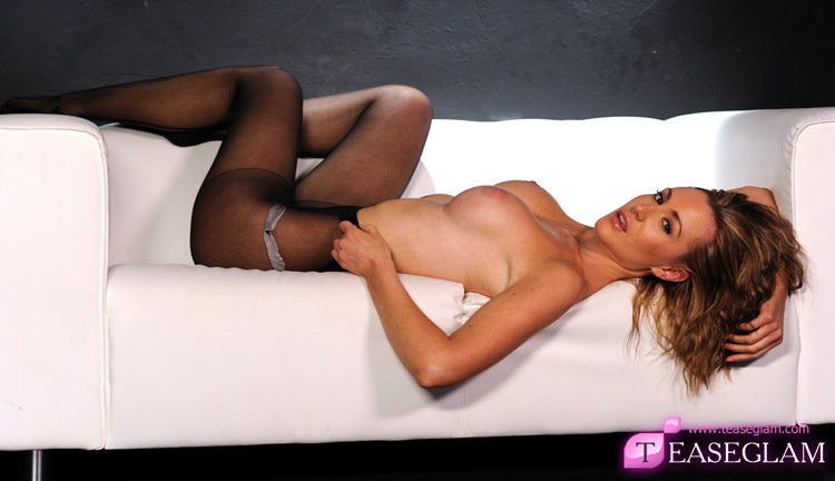 Jenna J teases with black nylons