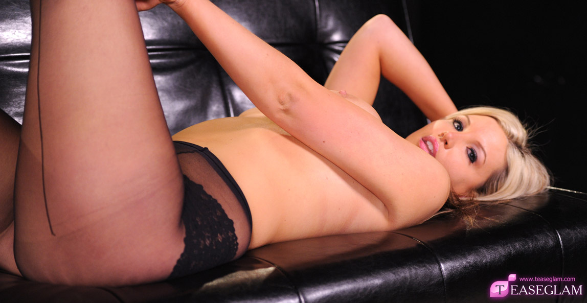 Beautiful Beau has perfect, large natural breast and looks luscious in black pantyhose