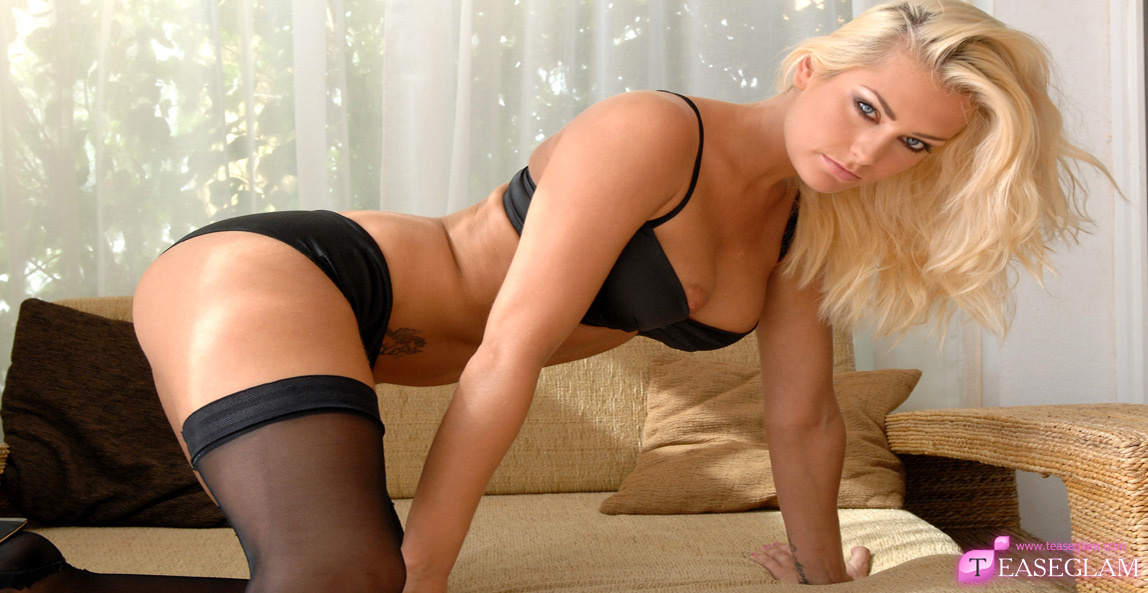 Natasha Marley black stockings & suspenders