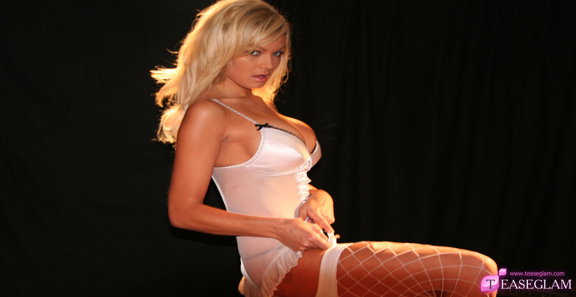 Emma Spellar white fishnet stockings